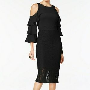 Thalia Sodi Marbella Ruffled Sleeve Lace Dress S